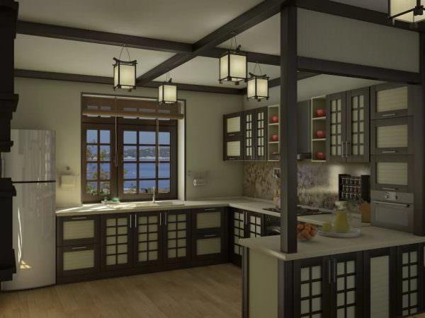 кухня в японском стиле, также, как и дизайн всего помещения в целом, закономерно пользуется большой популярностью.