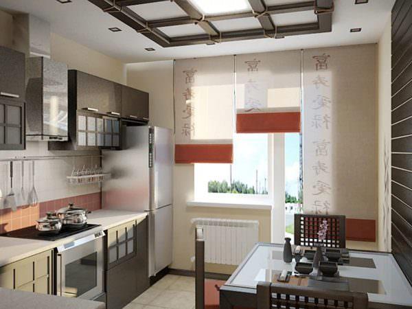 Выбирая мебель или занимаясь отделкой помещения лучше отдать предпочтение натуральным материалам: дерево, бамбук, рисовая бумага, солома, камень, стекло.