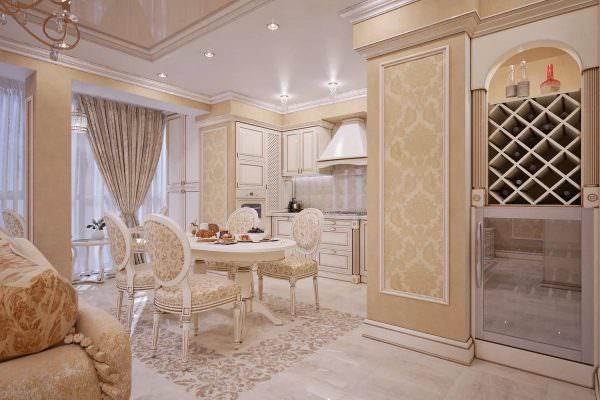 В классике допустима декоративная отделка потолка, красивые аксессуары, обилие текстиля, мебель с рамками, резьбой и украшениями.