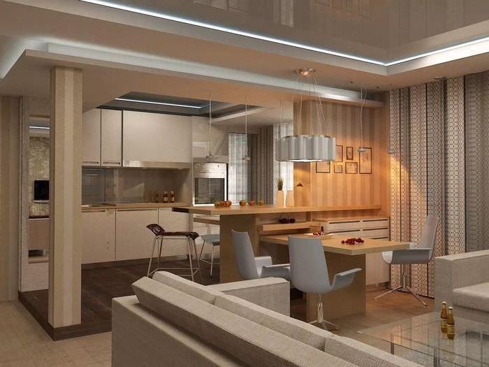 обои для совмещенной кухни и гостиной фото установлены