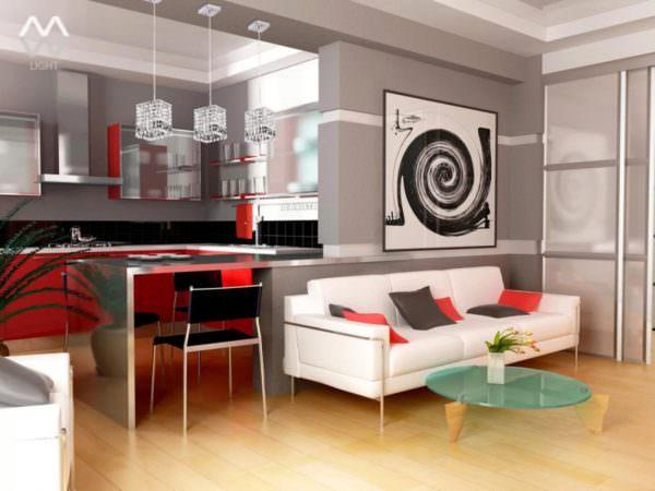 Чтобы отделить зону кухни от гостиной, можно использовать мебель, перегородки, барные стойки и даже аксессуары.
