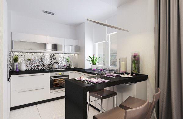 Если есть возможность совместить балкон и кухню, то барная стойка будет достойным решением в зонировании пространства.
