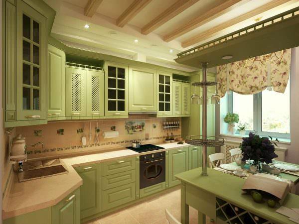 Современная кухня фисташкового цвета смотрится позитивно, оригинально и долго не надоедает хозяевам.