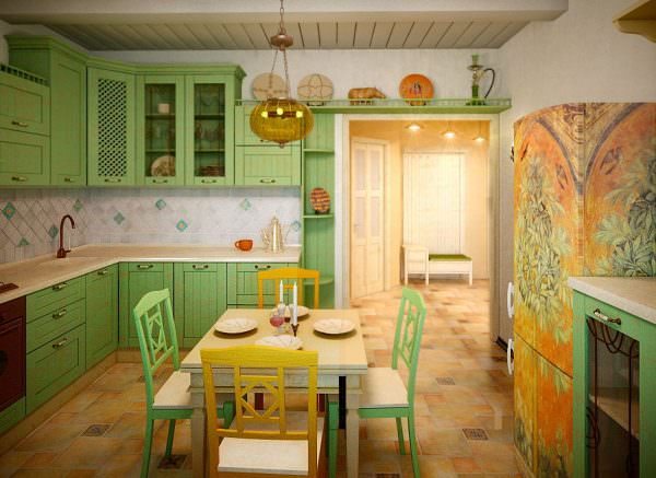 Фисташковый цвет в средиземноморском интерьере кухни смотрится отлично.