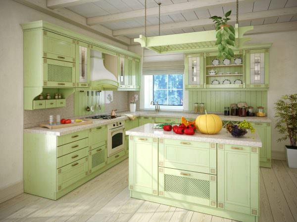 Выбор стиля для кухни цвета фисташек, зависит от оформления всей квартиры.