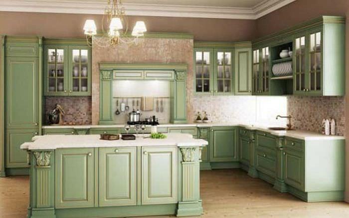 Фисташковый цвет фото в интерьере кухни