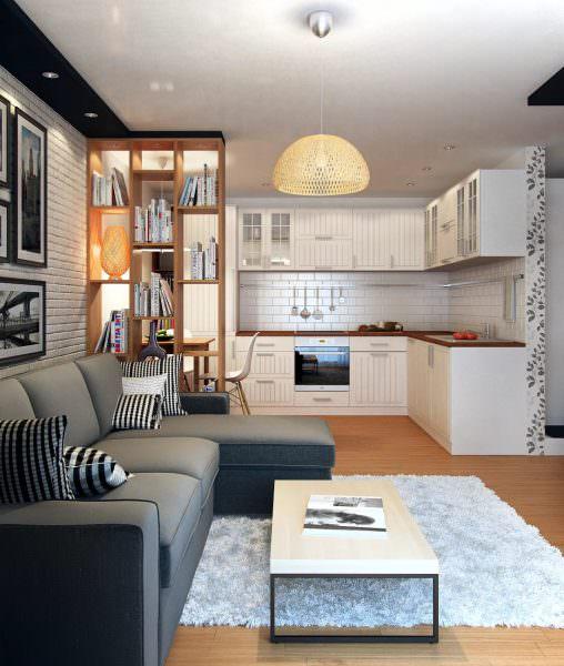 Если площадь разрешает, то кухня может быть не только местом для приготовления и поглощения пищи, но и гостиной.