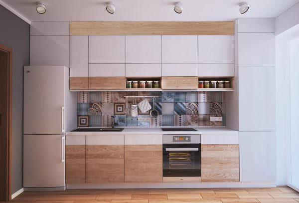 Линейные - занимают мало пространства, чтобы их увеличить площадь используются максимально высокие навесные шкафы.