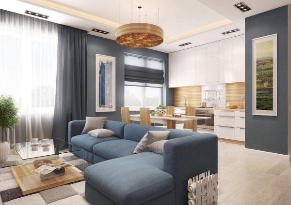 Расположение мебели и техники зависит от геометрии комнаты.