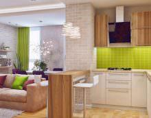Такой вариант зонирования подходит для всех размеров комнат. Главный плюс - может выполнять функции рабочей поверхности, обеденного стола или места для ланча.