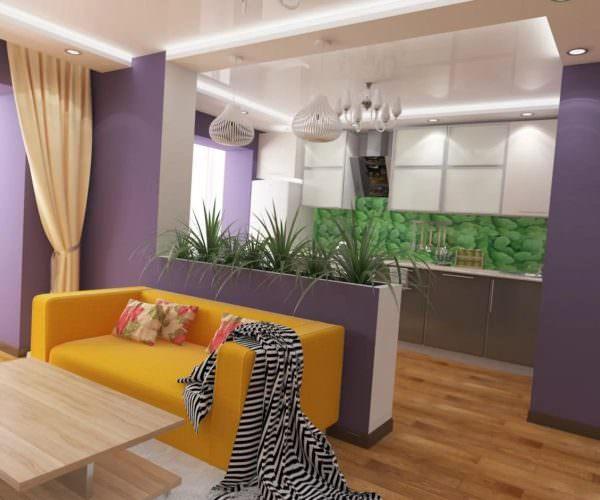 Если хозяин квартиры выбрал данный вариант для разделения пространства, он должен учесть, что все цвета должны между собой смотреться гармонично.