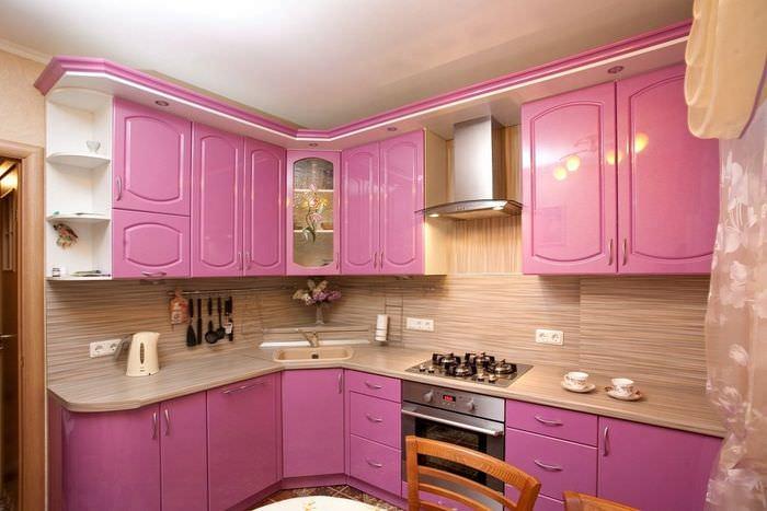 время крупных фото кухонь розового цвета всегда больше любила