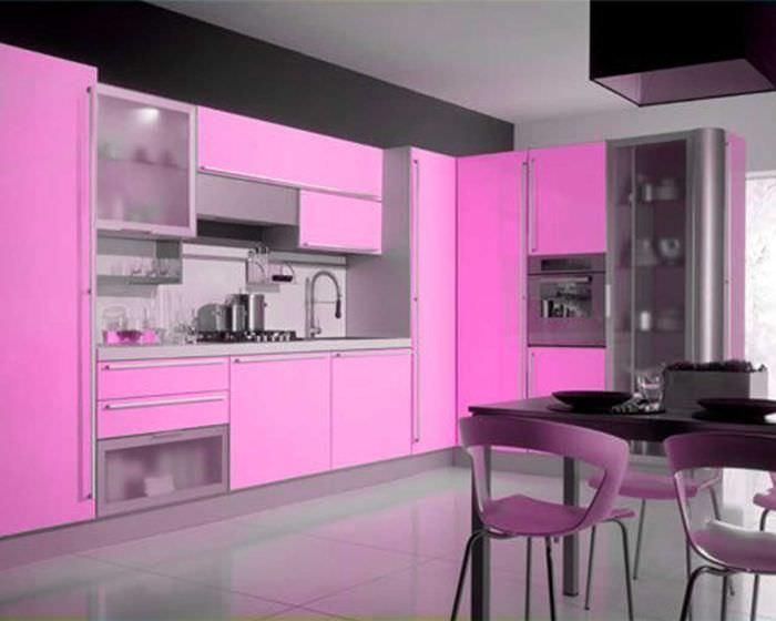 фото кухонь розового цвета было