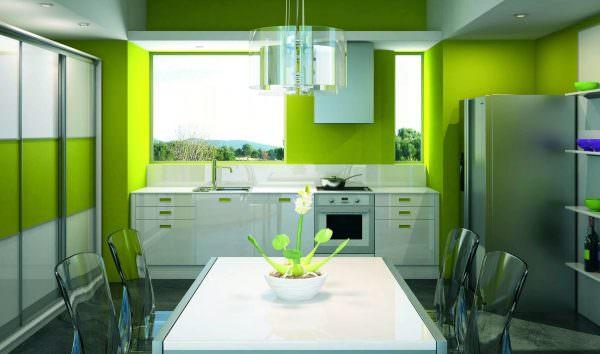 Покрасить стену, где размещена рабочая зона кухни, зеленой краской.