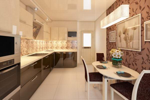 Чтобы правильно оформить классическую кухню, обратите внимание на бежево-коричневое сочетание