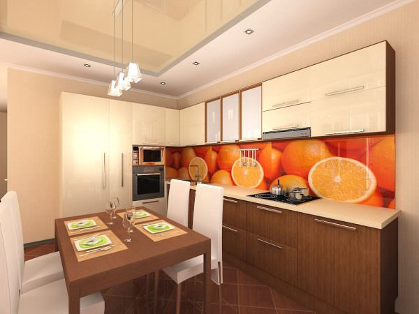 Глубокий оранжевый, разбавленный – в этих оттенках может быть фартук, занавески, посуда, аксессуары, элементы отделки