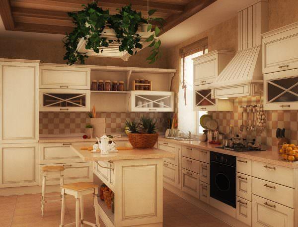 Для кантри характерна мебель грубоватой конструкции, скатерти, глиняная посуда, ковры, шторы и занавески из тюля, аксессуары хенд-мейд, овощи и фрукты в вазах в качестве декора.