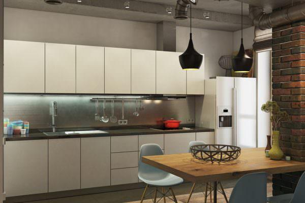 Бежевый кухонный гарнитур подойдет только в том случае, если будет сероватого, холодного тона.