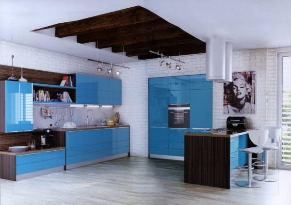 Кухня бирюза характеризует хозяев квартиры, позволяет им выразить свое отношение к миру и эмоциональный настрой.