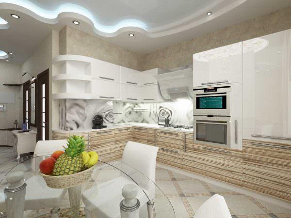 Использование светлого цвета в дизайне кухни очень модно сейчас. Э