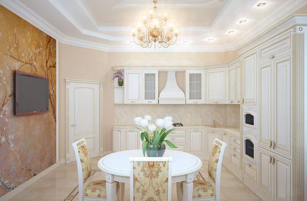 Для кухни в светлых тонах важно правильно подобрать детали.