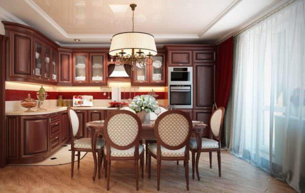Идеально этот стиль подходит для больших по площади кухонь
