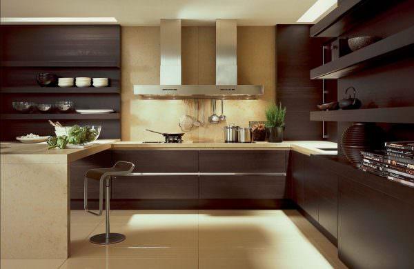 Мебель и отделка в оттенках темной цветовой гаммы может выглядеть грузно, объемно и тяжело.