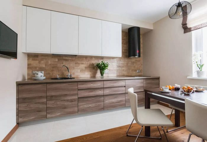 фото показывает дизайн бело коричневой кухни фото характере