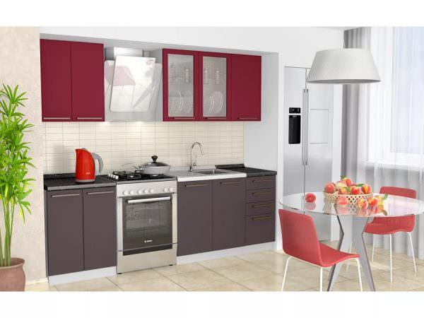 Бордовая мебель способна стать украшением любой кухни.