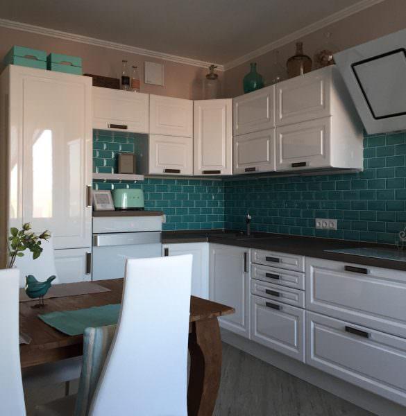 Что касается цвета, то для кухни в бирюзовом тоне многое зависит от деталей.