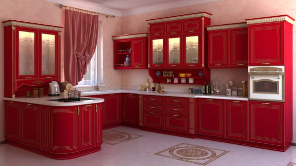 В красной, зеленой кухне гармоничными будут занавески в тон.