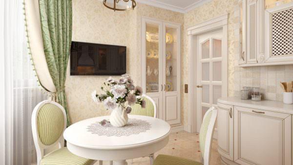 В дизайне светлой кухни хорошо смотрятся светлые обои и пол.