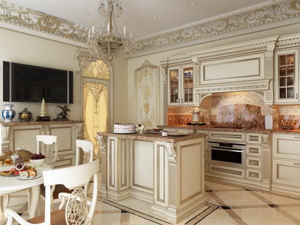 Доминирующие цвета на такой кухне лучше выбирать нежные.