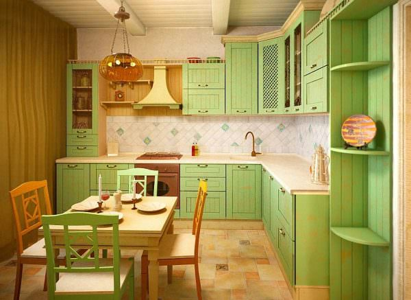 Дизайн кухни в зеленых тонах возможен в любом помещении при правильном выборе оттенков, их сочетании.