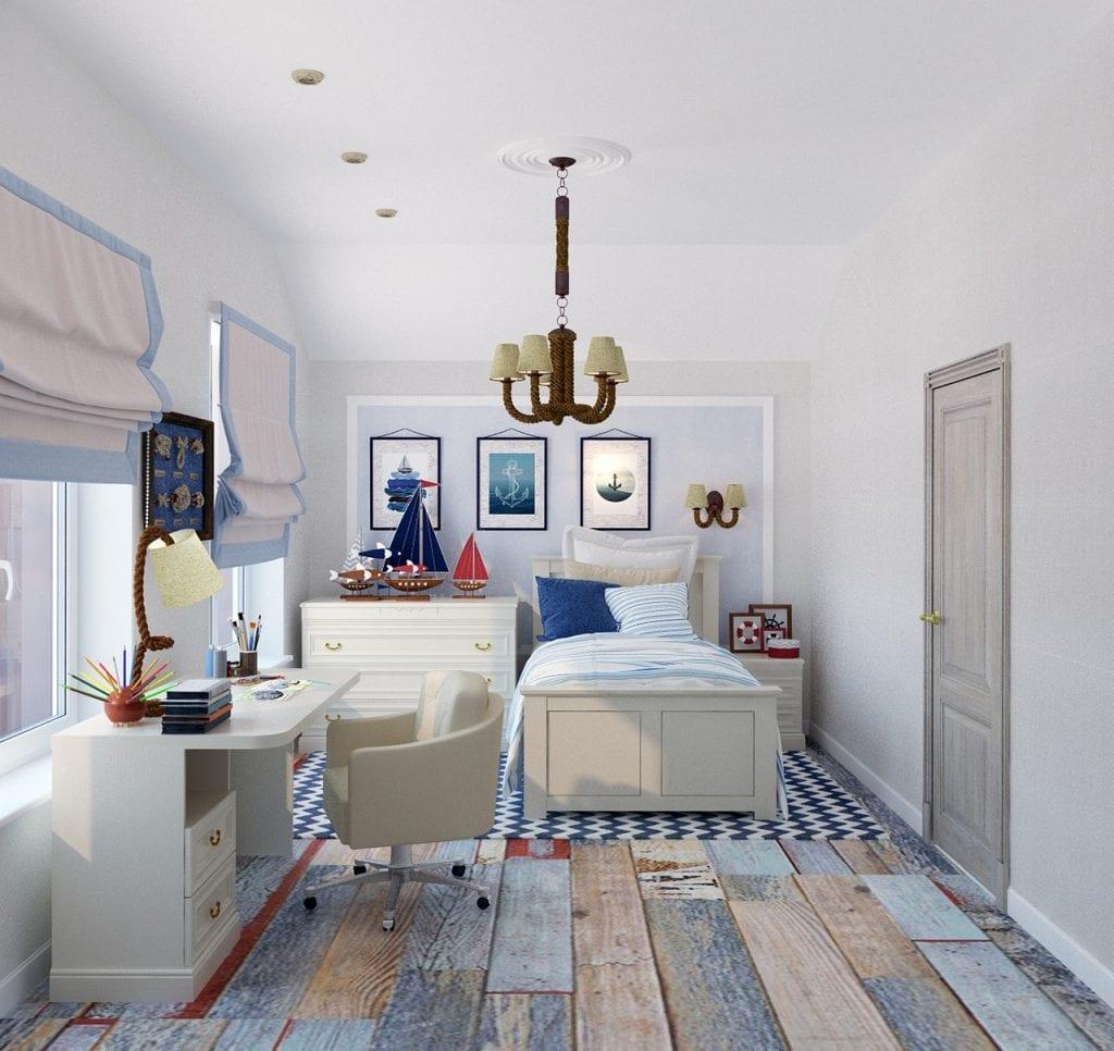 Дизайн комнаты для мальчика с местом для учёбы и зоной отдыха