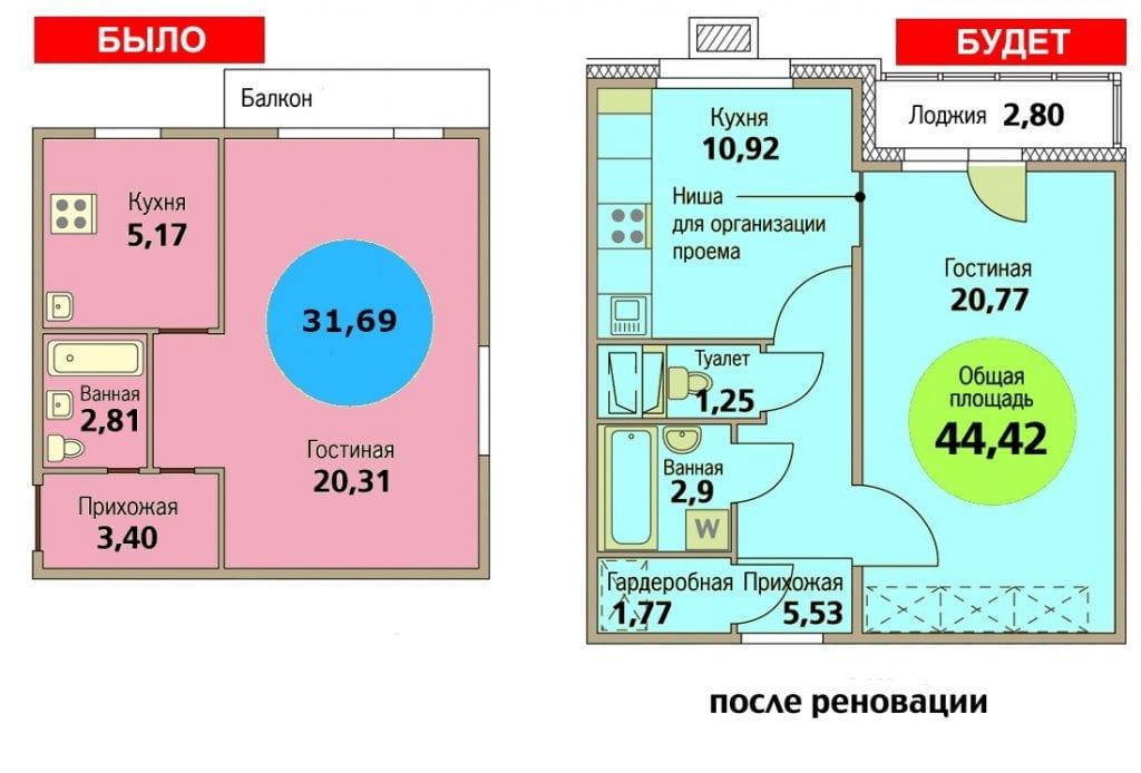 Планировка однокомнатной квартиры по программе реновации