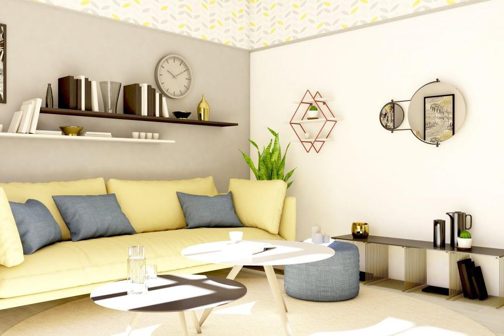 Планировка с диваном в углу комнаты