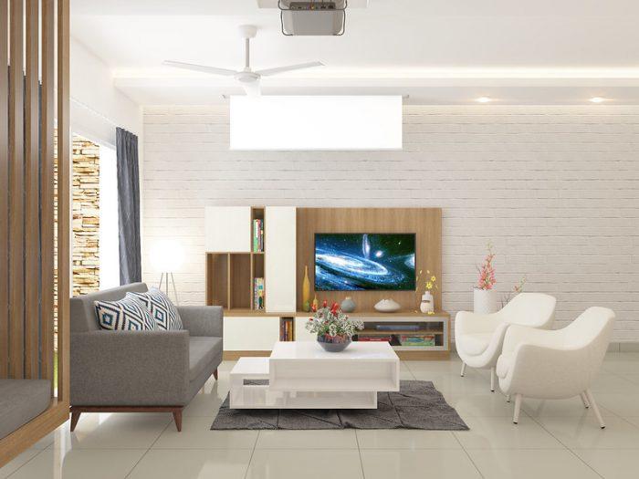Просторная светлая комната с телевизором