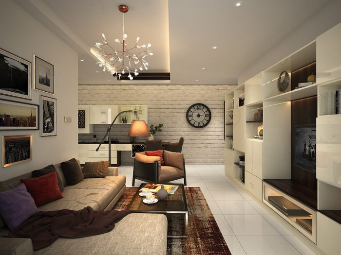 Дизайн стен в гостиной в стиле лофт