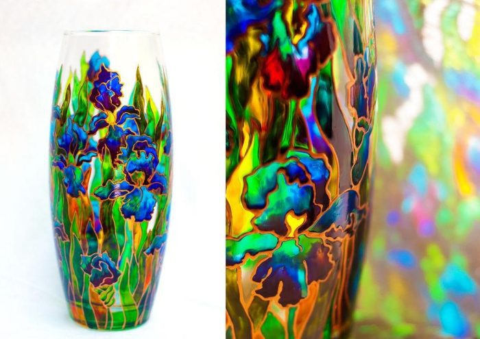 Пример витражной росписи вазы