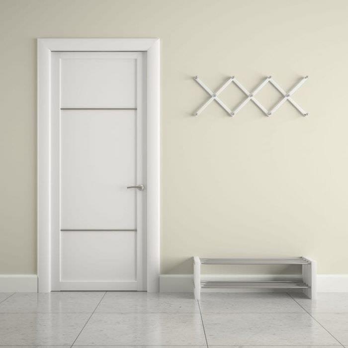 Минималистичная дверь в прихожей с плиткой