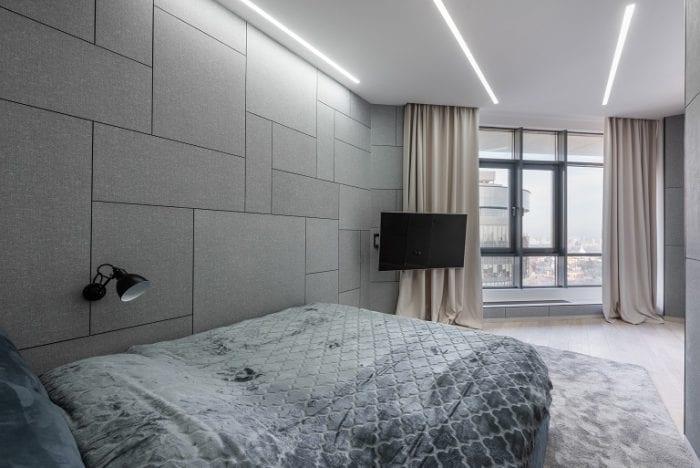 Встраиваемые линейные светильники в спальне
